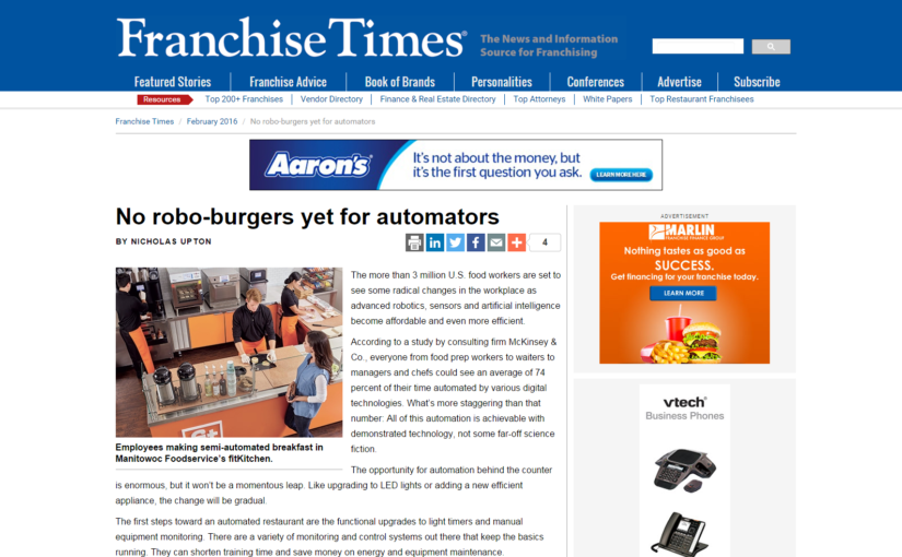 Franchise Times — No robo-burgers yet for automators